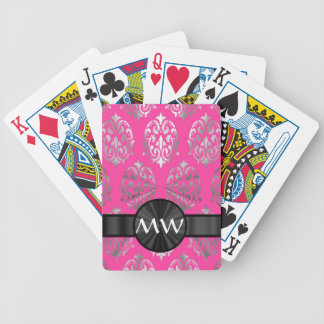 Silver and pink damask pattern bicycle playing cards