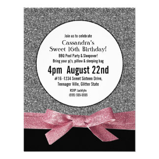 Silver and Pink Faux Glitter Girly Party Invitation