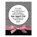 Silver and Pink Faux Glitter Girly Party Invites