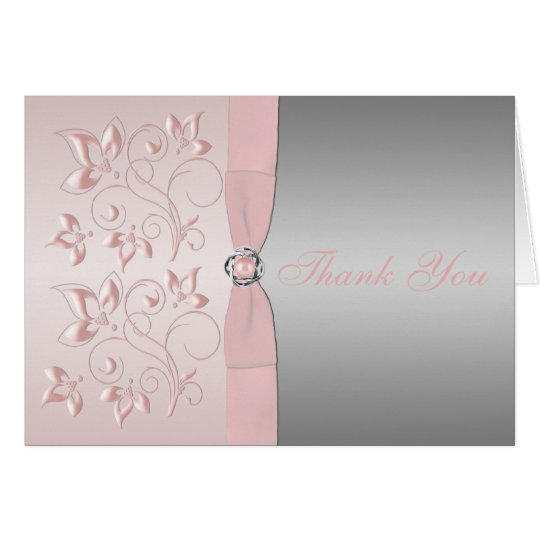 Silver and Pink Floral Love Knot Thank You Note Card
