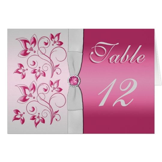 Silver and Pink Floral Table Number Card