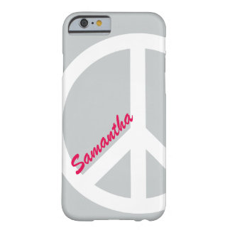 Silver and Pink Peace Sign iPhone 6 case