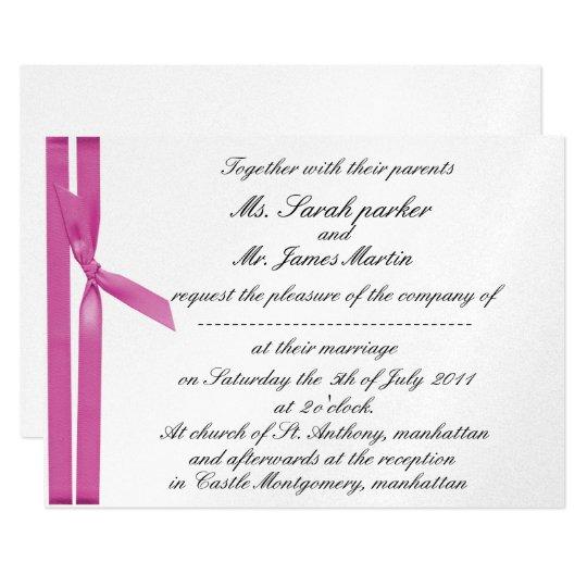 Silver and pink ribbon metallic invite