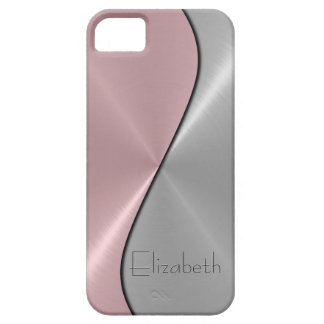 Silver and Pink Stainless Steel Metal iPhone 5 Cover