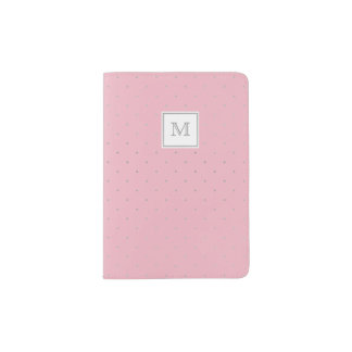 Silver and pink Tiny Polka Dot Passport Holder