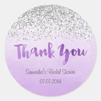 Silver and Purple Bridal Shower Sticker