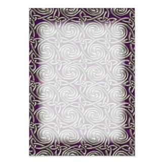 Silver And Purple Celtic Spiral Knots Pattern 13 Cm X 18 Cm Invitation Card