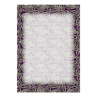 Silver And Purple Celtic Spiral Knots Pattern Card