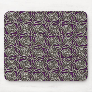 Silver And Purple Celtic Spiral Knots Pattern Mouse Pad