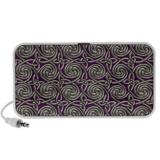 Silver And Purple Celtic Spiral Knots Pattern Travel Speaker