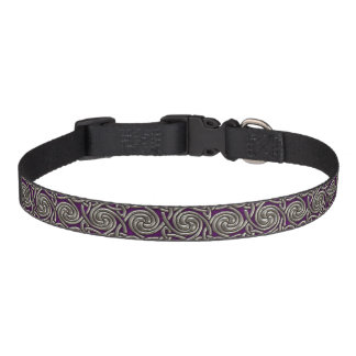 Silver And Purple Celtic Spiral Knots Pattern Pet Collar