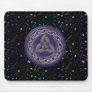 Silver and Purple Celtic Wheel on Jeweled Sky Mouse Pad