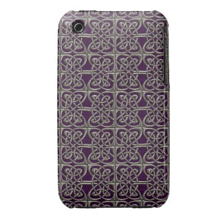 Silver And Purple Connected Ovals Celtic Pattern iPhone 3 Cases