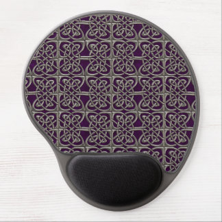Silver And Purple Connected Ovals Celtic Pattern Gel Mouse Pad