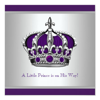 Silver and Purple Crown Little Prince Baby Shower 13 Cm X 13 Cm Square Invitation Card