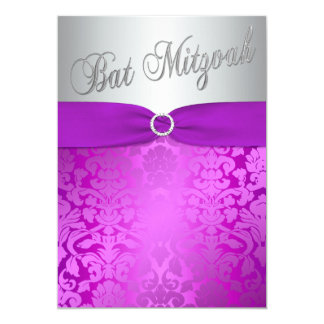Silver and Purple Damask Bat Mitzvah Invitation