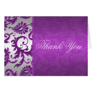 Silver and Purple Damask II Thank You Card