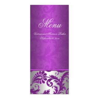 Silver and Purple Damask II Wedding Menu Card
