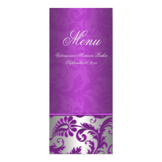 Silver and Purple Damask II Wedding Menu Card 10 Cm X 24 Cm Invitation Card