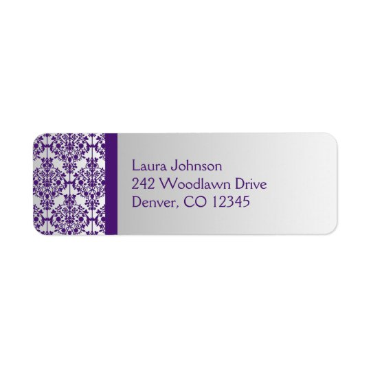 Silver and Purple Damask Return Address Label