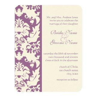 "Silver and Purple Damask Wedding Invitations 4.25"" X 5.5"" Invitation Card"