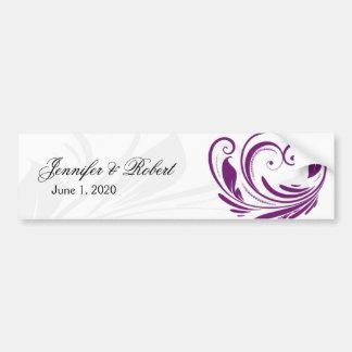 Silver and Purple Floral Heart Scroll Border Bumper Sticker