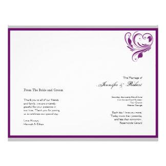 Silver and Purple Floral Heart Wedding Program 21.5 Cm X 28 Cm Flyer