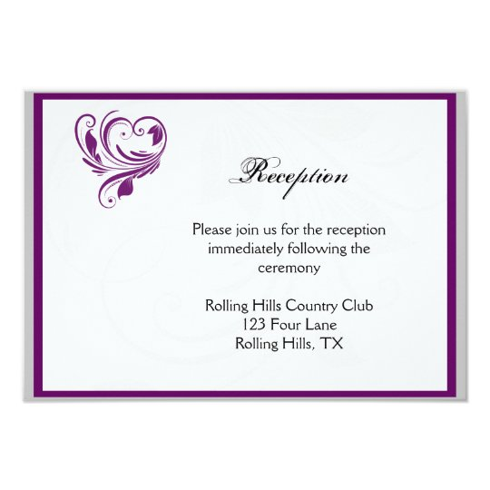 Silver and Purple Floral Heart Wedding Reception Card