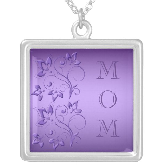 "Silver and Purple Floral ""Mum"" Necklace"