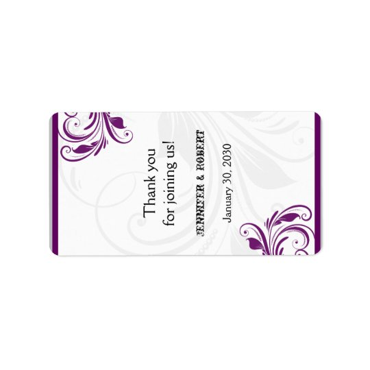 Silver and Purple Floral Wedding Lip Balm Label
