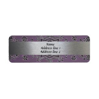 Silver and Purple Metallic Address labels