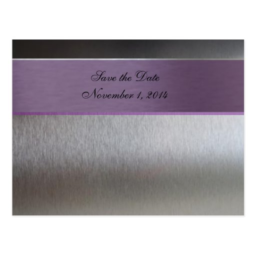 Silver and Purple Metallic Save the Date Post Cards