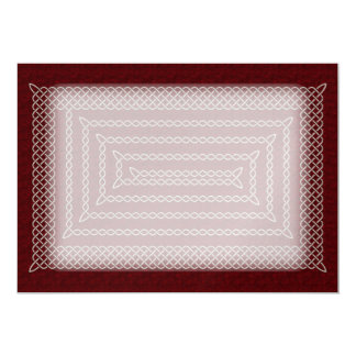 Silver And Red Celtic Rectangular Spiral 13 Cm X 18 Cm Invitation Card
