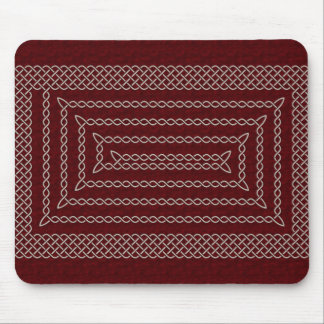 Silver And Red Celtic Rectangular Spiral Mouse Pad