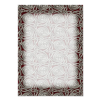 Silver And Red Celtic Spiral Knots Pattern 13 Cm X 18 Cm Invitation Card