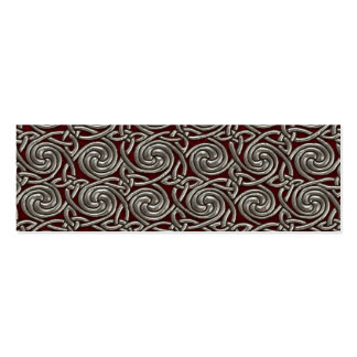 Silver And Red Celtic Spiral Knots Pattern Business Cards