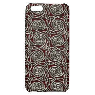 Silver And Red Celtic Spiral Knots Pattern iPhone 5C Cover