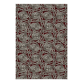 Silver And Red Celtic Spiral Knots Pattern Photographic Print