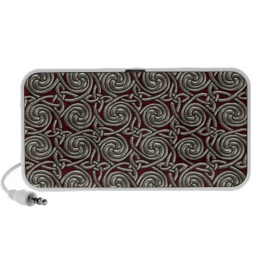 Silver And Red Celtic Spiral Knots Pattern Notebook Speakers