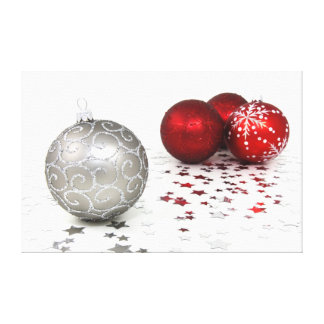 Silver and Red Christmas Canvas Print