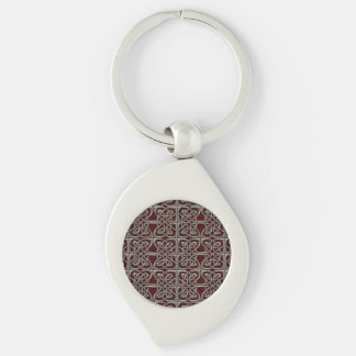 Silver And Red Connected Ovals Celtic Pattern Silver-Colored Swirl Key Ring