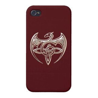 Silver And Red Dragon Trine Celtic Knots Art iPhone 4 Cases
