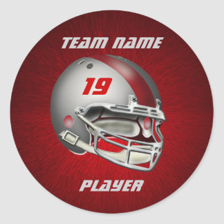 Silver and Red Football Helmet Classic Round Sticker
