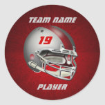 Silver and Red Football Helmet Round Stickers