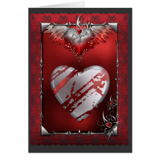 Silver and Red Heart Card