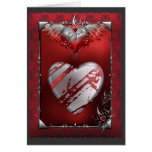 Silver and Red Heart Greeting Card