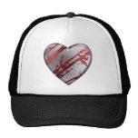 Silver and Red Heart Hat