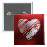 Silver and Red Heart Pinback Button