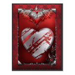 Silver and Red Heart Postcard