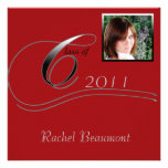 Silver and Red Modern Classic Graduation Custom Announcement